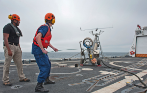 Coast Guard launches an unmanned aircraft from a cutter