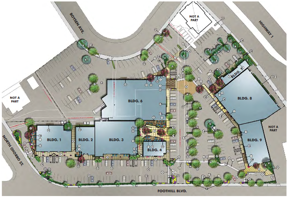layout of revamped shopping center  New grocery store would building 6